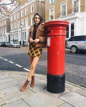 jacket,brown jacket,oversized jacket,brown boots,leather boots,plaid skirt,brown sweater,gold necklace