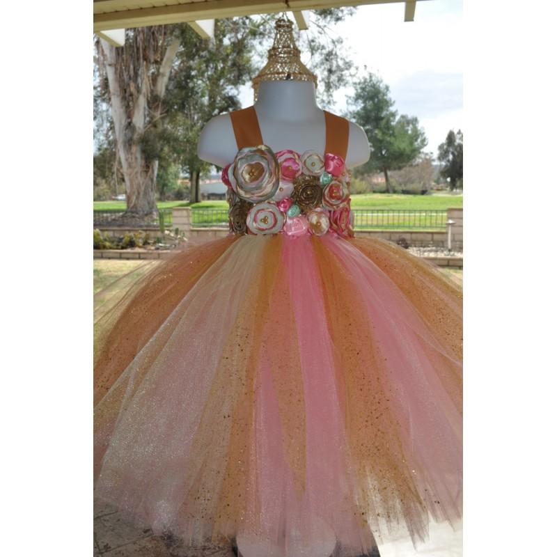 af79434fb50fe Pink Gold Mint Flower Girl Dress, Special Occasion Infant Dress, Pink Gold  Toddler Dress,Girls Sparkle Dress, Pink Baby Dress - Hand-made Beautiful ...