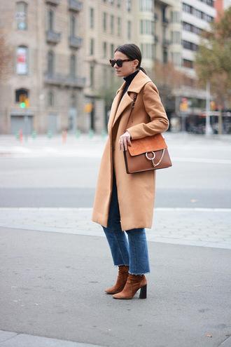 fashion vibe blogger coat shoes jeans sweater sunglasses bag