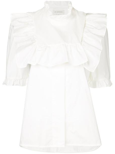 Lee Mathews top ruffle women white cotton