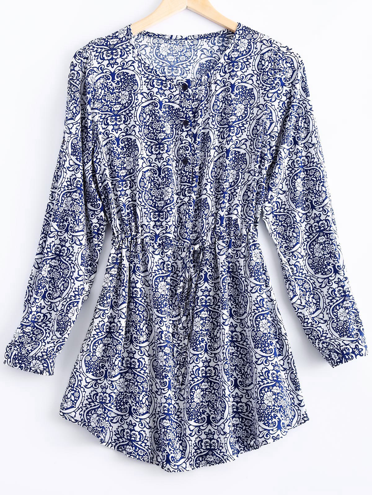 Ethnic Style Round Collar Floral Print Dress For Women