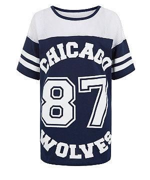 Cameo Rose Navy Mesh Panel Chicago Baseball T-Shirt