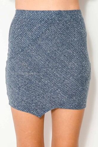 skirt dolly girl fashion navy skirt elastic ribbed material ribbed material skirt ribbed outfit two-piece party stretch skirt sexy look sexy outfit assymetrical zipper