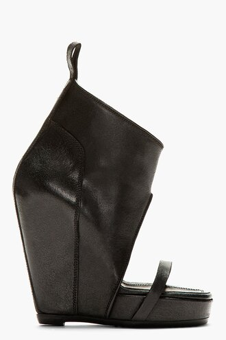 wedge women shoes leather black covered high heels