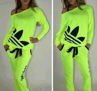 t-shirt knitwear pullover adidas yellow top crop tops high top sneakers hip hop swag girly fluo fluorescent color fluorescent yellow shirt sweater sweatshirt tank top pants neon green woman outfit jumpsuit