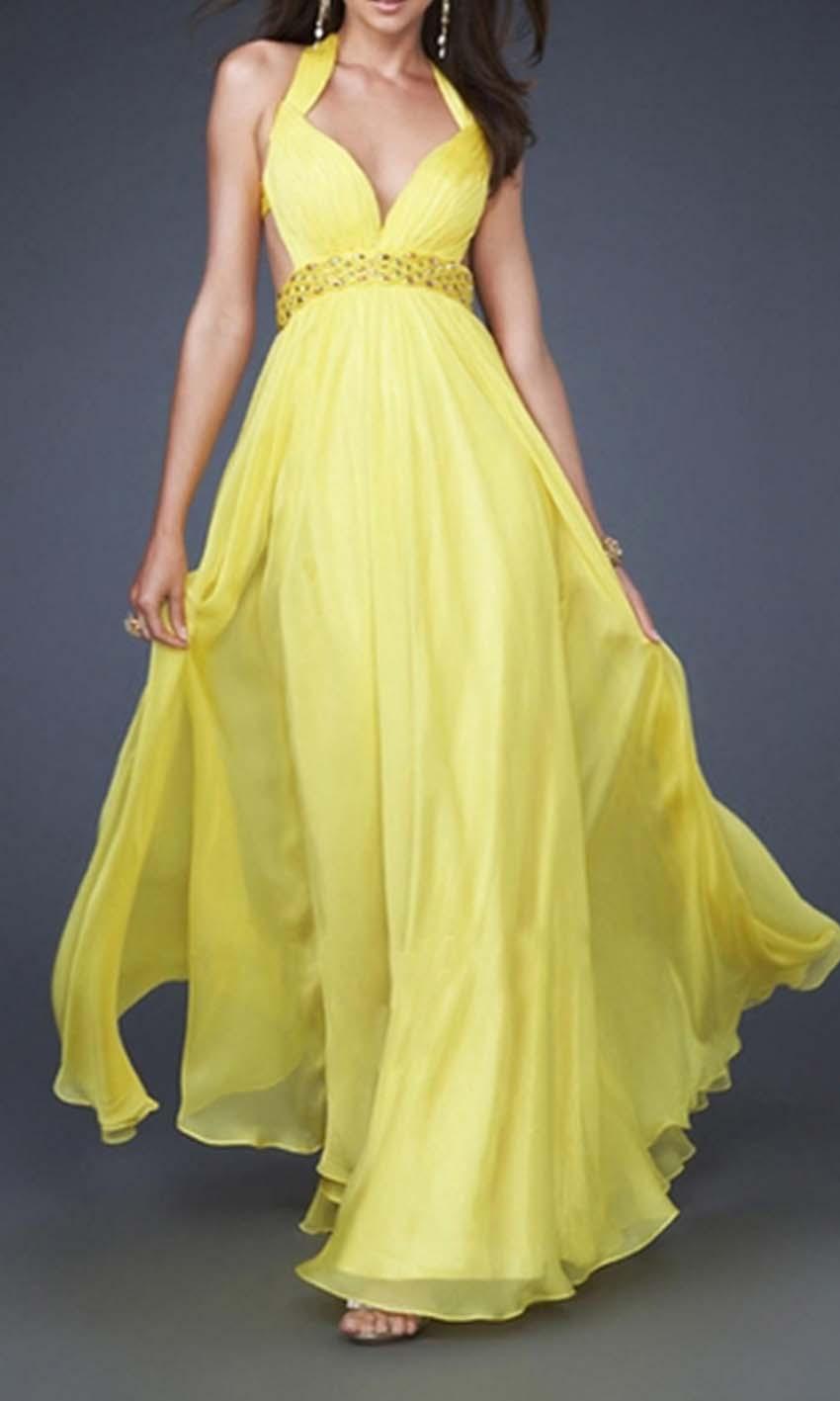 Flowing yellow halter backless long prom dresses ksp377 for Cheap wedding dresses uk under 100