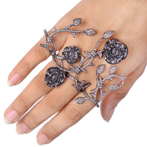jewels four finger ring ring knuckle ring black diamond ring