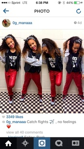 jeans,leather jacket,black,white tank top,red,jordan's,leather,grey sweater,rihanna,jacket