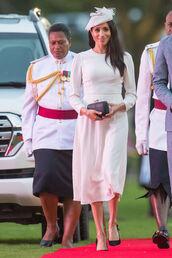 dress,midi dress,white,white dress,meghan markle,long sleeve dress
