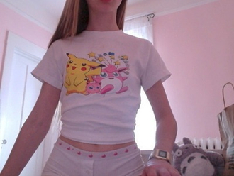 shirt soft ghetto t-shirt white grunge soft grunge pokemon kawaii kawaii grunge