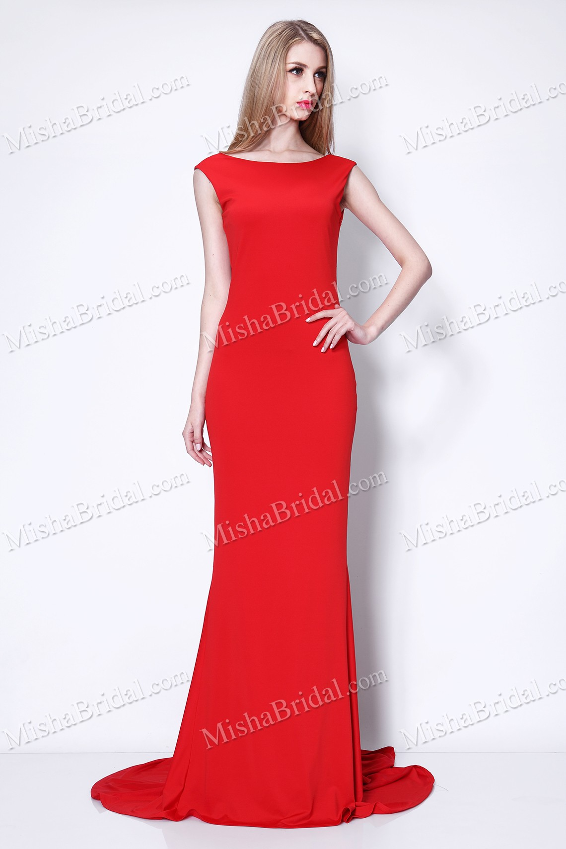 Red fitted sleeveless backless sweep train dress