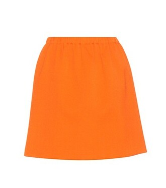 miniskirt wool orange skirt
