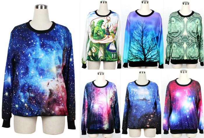 Autumn women fashion coats winter clothings alice & caterpillar woah dude 2.0 nana galaxy sweatshirts printed hoodies plus size