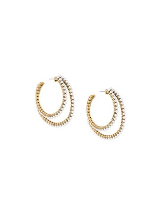 pearl earrings hoop earrings metallic jewels