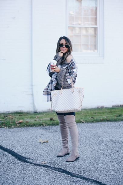 fashionably kay blogger sweater scarf jeans shoes louis vuitton bag boots grey boots over the knee boots thigh high boots winter outfits