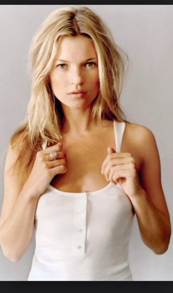simple girly kate moss white tank top