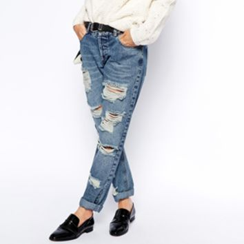 ASOS Brady Low Rise Slim Boyfriend Jeans in Mid Wash with Extreme Rips on Wanelo