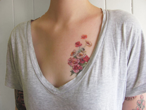 make-up fake tattoos flowers cute