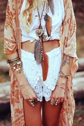 jewels,cardigan,kimono,orange kimono,blouse,top,velvet,shorts,coat
