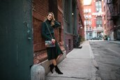 the classy cubicle,blogger,sweater,skirt,coat,bag,jewels,socks,shoes,fall outfits,ankle boots,boots,green sweater,midi skirt