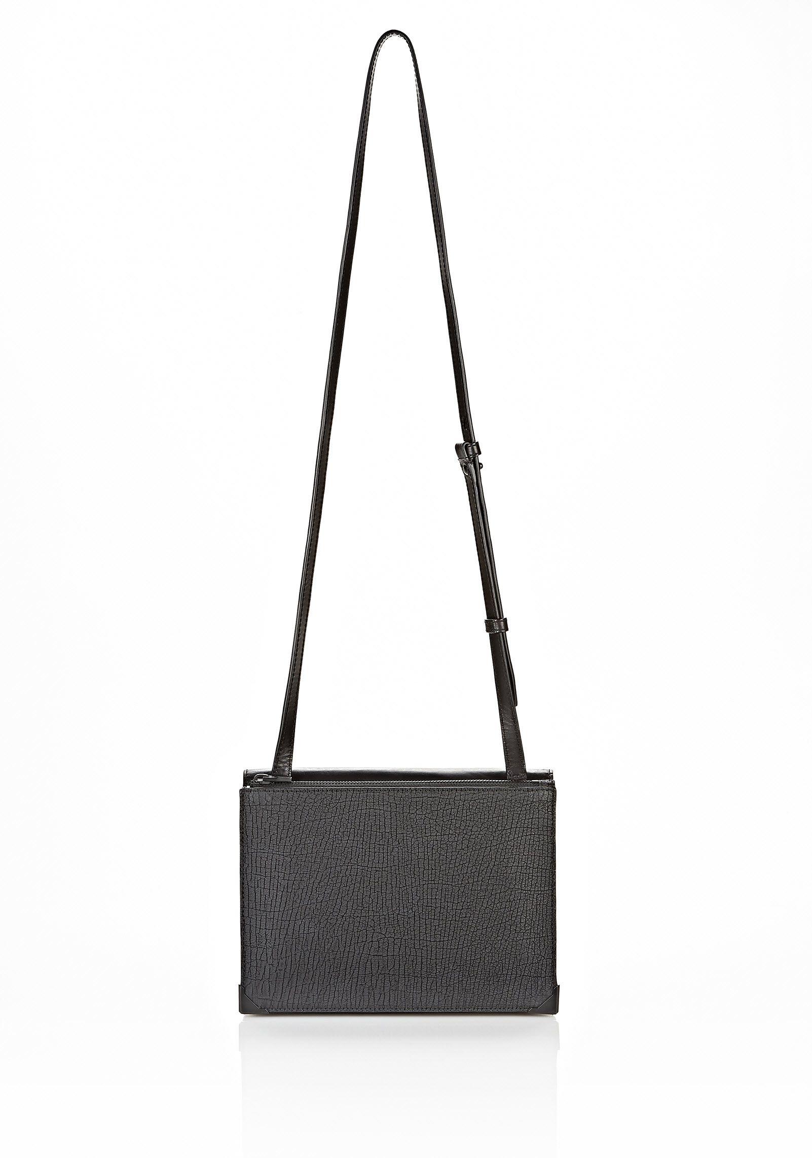 PRISMA SKELETAL DOUBLE ENVELOPE CLUTCH IN EMBOSSED BLACK WITH MATTE BLACK - Shoulder Bags Women - Alexander Wang Online Store
