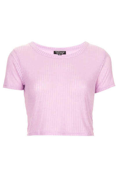 t-shirt topshop pink rib crop top crop tops lilac blue
