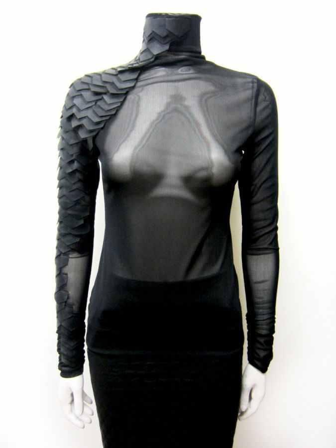 Celeb Long Sleeve Turtleneck Faux Leather Armor Scales Top Sheer Mesh Black Sm
