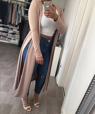 jeans knee holes holes jeans tumblr outfit cardigan