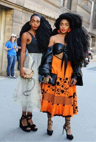 skirt sandals streetstyle fashion week 2017 paris fashion week 2017 top off the shoulder off the shoulder top