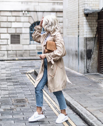 coat tumblr trench coat denim jeans light blue jeans cropped jeans sneakers white sneakers low top sneakers