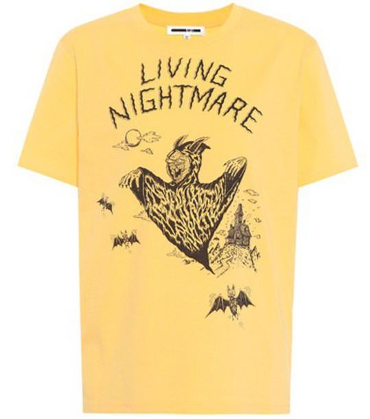 t-shirt shirt cotton t-shirt t-shirt cotton yellow top