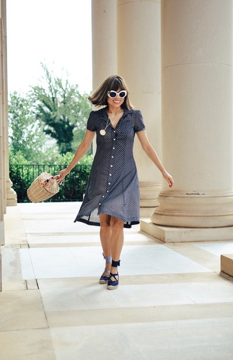 mysmallwardrobe blogger shoes bag sunglasses scarf dress basket bag button up dress summer outfits