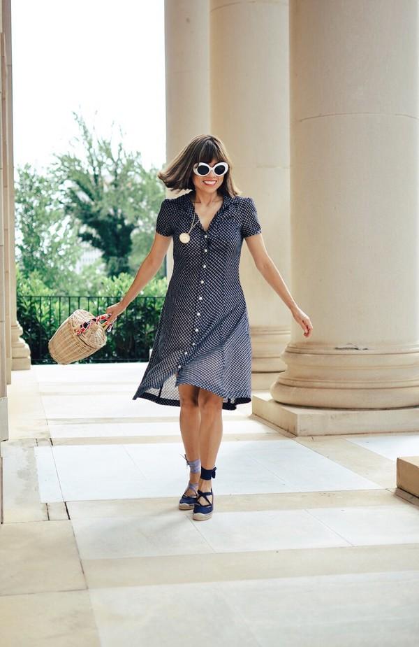 mysmallwardrobe blogger shoes bag sunglasses scarf dress basket bag button up dress summer outfits