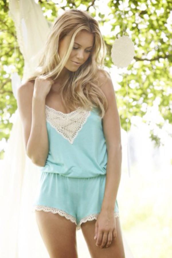 dress teddy lingerie negligee blue lace