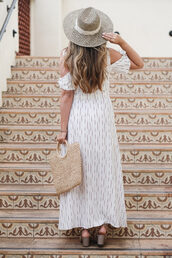 top,white skirt,hat,tumblr,off the shoulder,off the shoulder top,skirt,maxi skirt,bag,sun hat