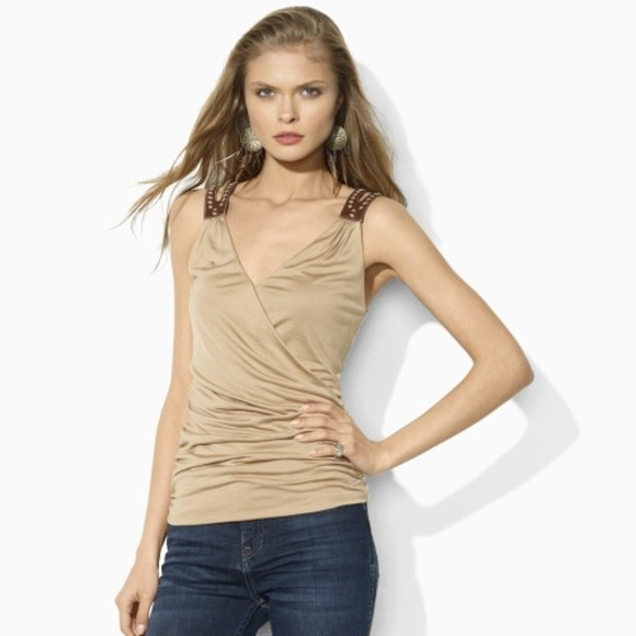 taupe blouse top shirt v-neck top short sleeve sleeveless form fitting beige top
