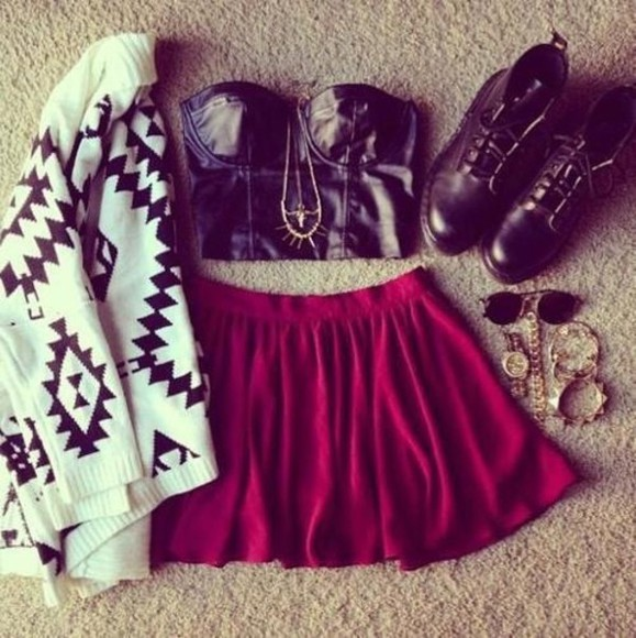 skirt white top dress red jumper black jewerely sunglasses watch clothea clothes jacket blouse