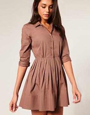 ASOS | ASOS Shirt Dress With Pleated Skirt at ASOS