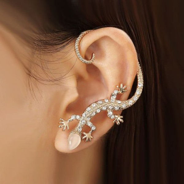 Fashion Exquisite Crystal Gecko With Opal Head Alloy Gold Plated Women's Single Cuff for Left Ear - USD $29.95 : EverMarker.com
