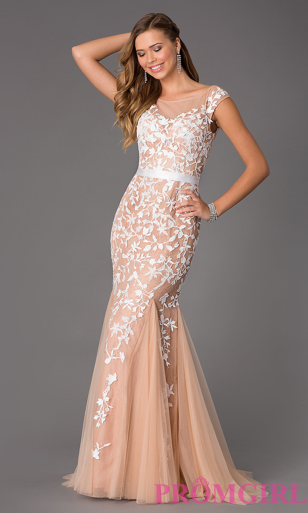 Floor Length Cap Sleeve Embroidered Dress by Sherri Hill