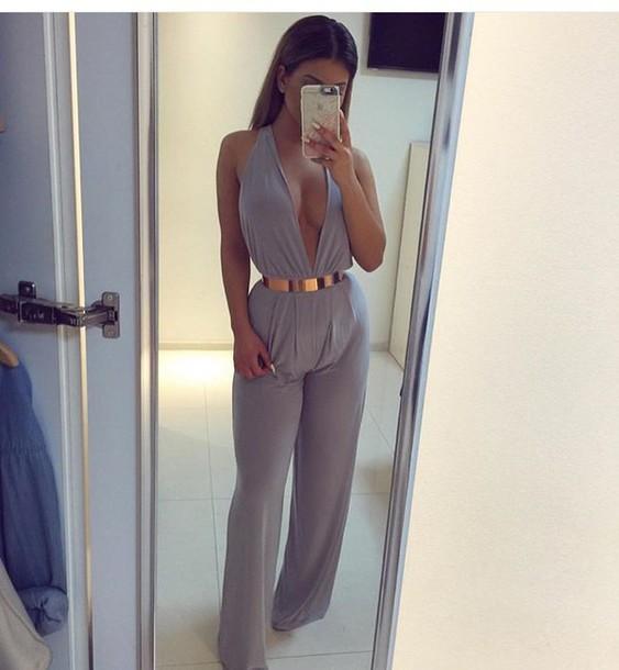 7df22cab420 jumpsuit purple tumblr tumblr outfit girly grey plunge v neck plunge  jumpsuit plunge neckline wide-