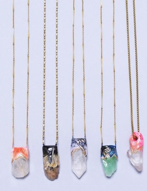 jewels necklace gemstone gemstone gold stone necklaces raw stone