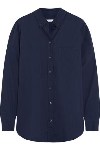 shirt cotton navy top