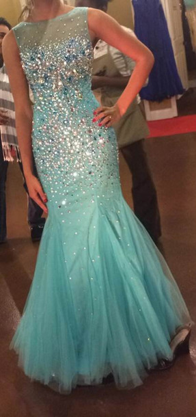 dress rhinestones mermaid formal ball gown dress