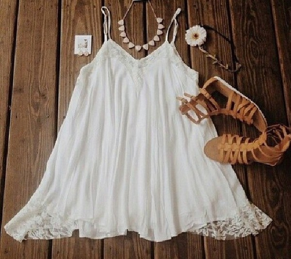 white dress flowy dress hipster
