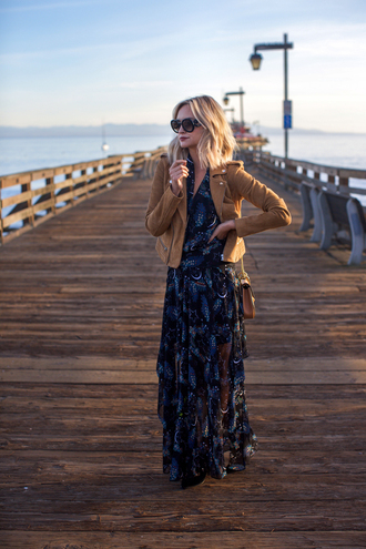 late afternoon blogger suede jacket maxi dress printed dress