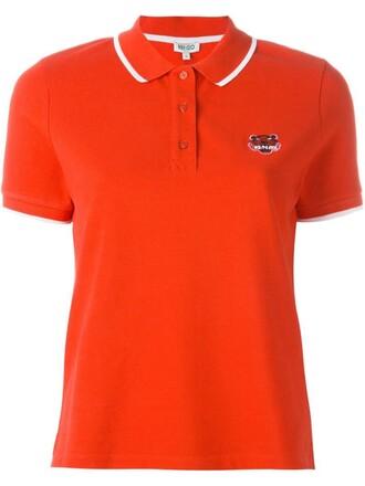 shirt polo shirt tiger red top