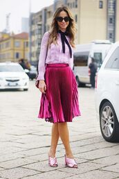 shoes,gucci mules,mules,pink shoes,gucci,gucci shoes,skirt,midi skirt,pleated skirt,pink skirt,shirt,pink shirt,sunglasses,all pink wishlist,All pink outfit,all pink everything,streetstyle