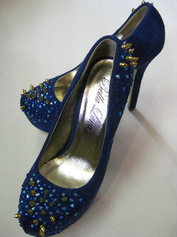 Blue spike suede heels  fashionable spiked by featherfetish