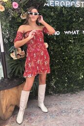 shoes,dress,boots,white boots,sunglasses,off the shoulder,off the shoulder dress